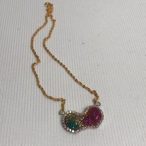 Mickey Mouse Ears Rainbow Glitter Necklaceb